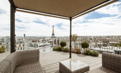 Rooftop Apartment in Paris, view on Eiffel Tower